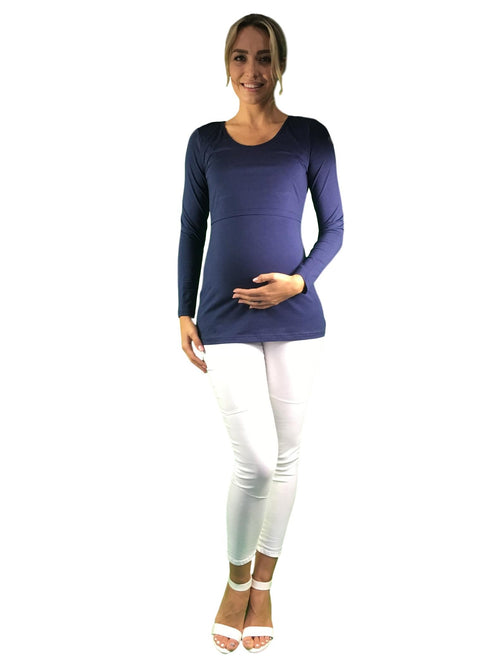 Maternity & Nursing Cotton Lift Up Top - Navy Blue