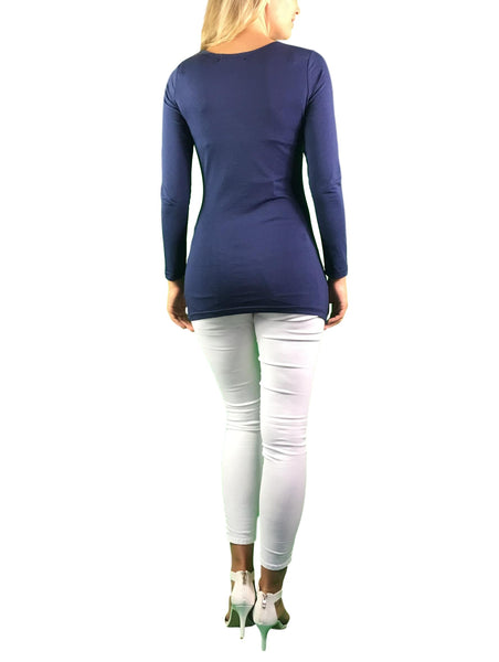 maternity long sleeve top with side ruching