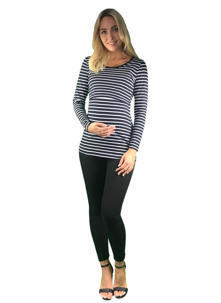 Maternity & Nursing Cotton Lift Up Top - Black & White Stripes -