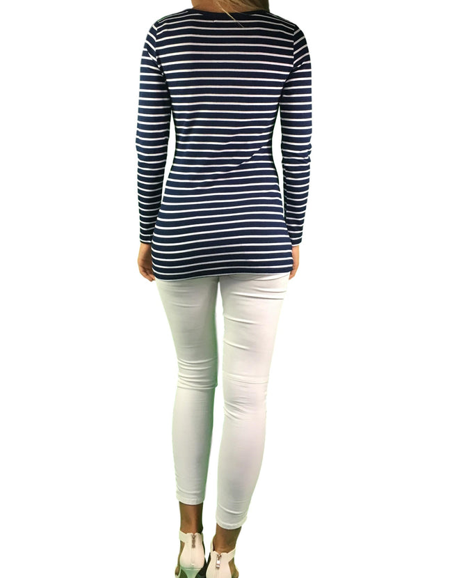 Maternity & Nursing Cotton Lift Up Top - Navy Stripes