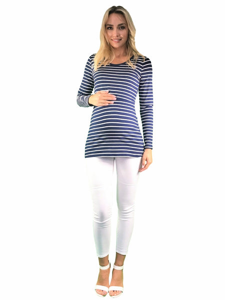 Long Sleeve Cotton Maternity & Nursing Tee - Grey
