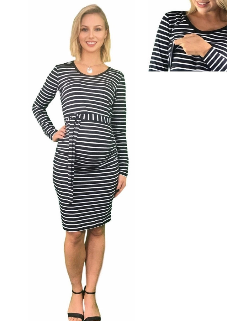 Maternity & Nursing Cotton Dress With Removable Belt - Striped -