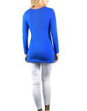 Maternity Long Sleeve Cotton Tee With Side Ruching - Blue - maternity top