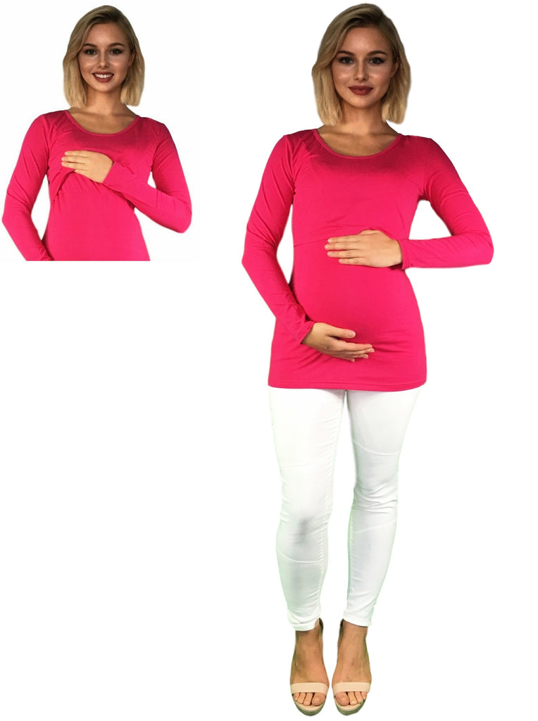 Maternity & Nursing Cotton Lift Up Top - Pink -