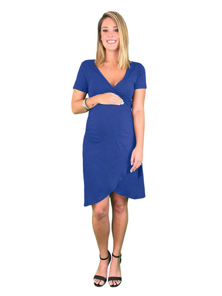 Maternity & Nursing Cotton Crossover Dress - Black