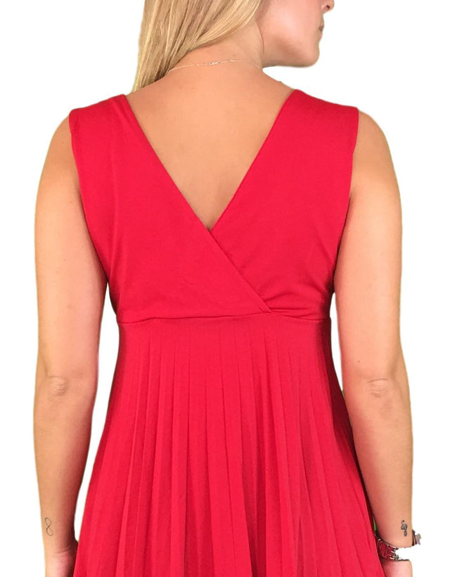 Dressy Pleated Maternity & Nursing Top - Red