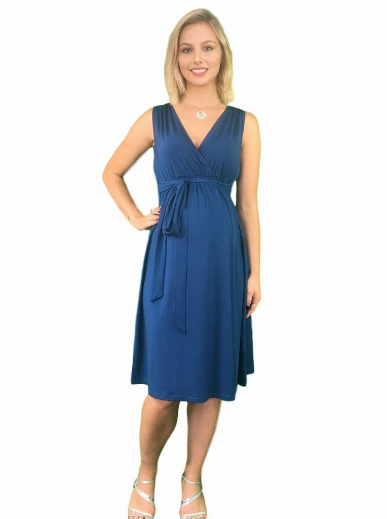 Maternity & Nursing Dress - Front, Back or Side Tie - Teal -