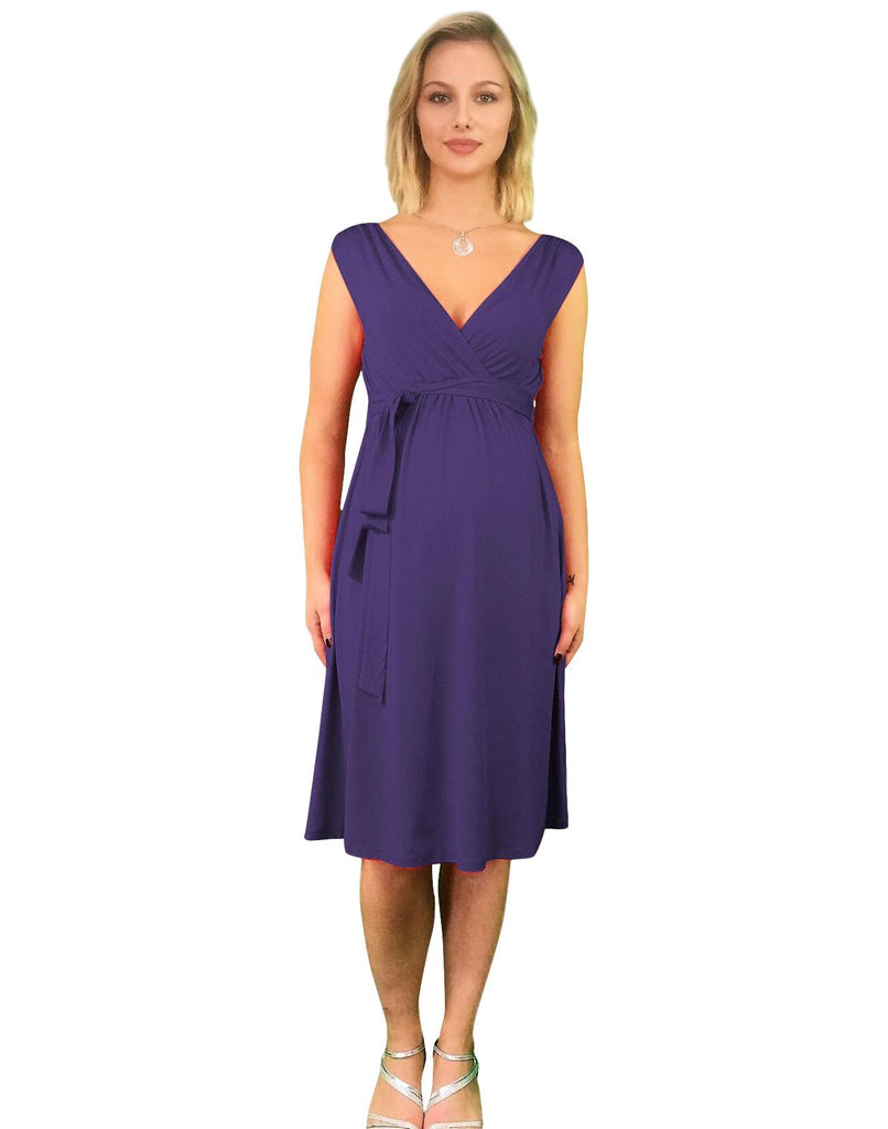 Maternity & Nursing Dress - Front, Back or Side Tie - Purple -