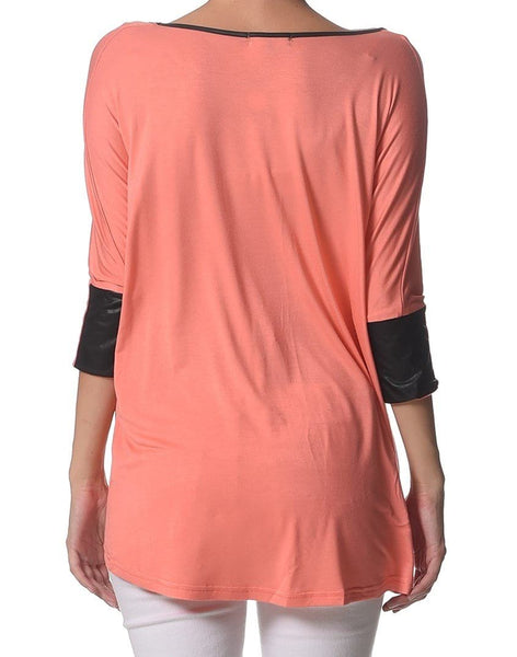 3/4 Sleeve Maternity Tee With Faux Leather Cuffs - Coral