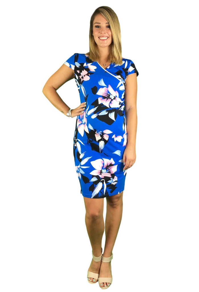 Maternity & Nursing Dress - Teaberry Cap Sleeve - Blue -