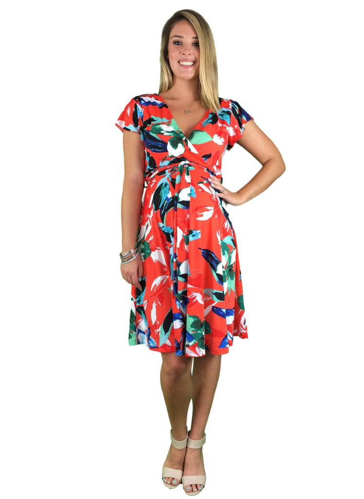 Maternity & Nursing Day Dress - Orange Print -