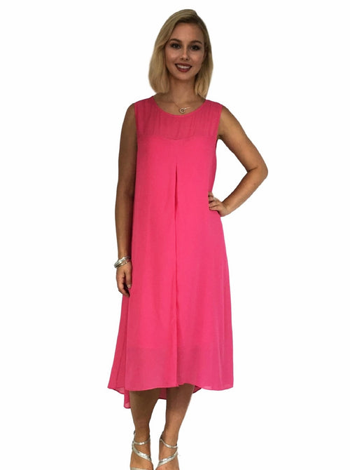 Maternity Dress - Layered Evening Dress - Fuschia