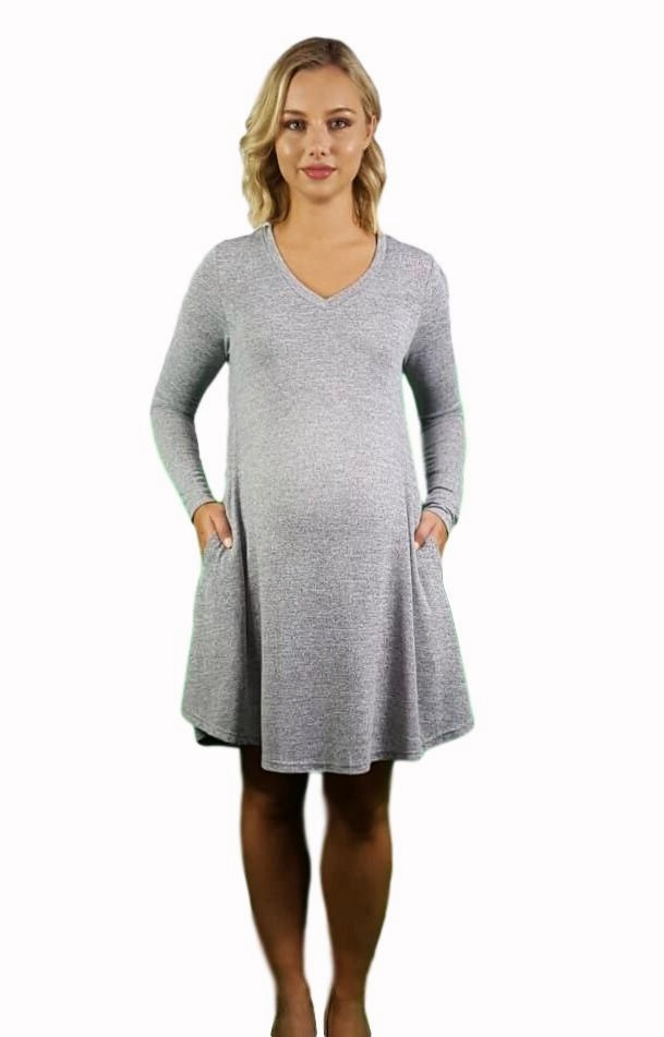 Maternity Swing Dress With Side Pockets - Grey -