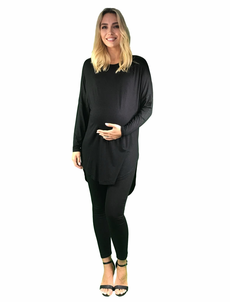 Maternity Top - Extra Long - Black -
