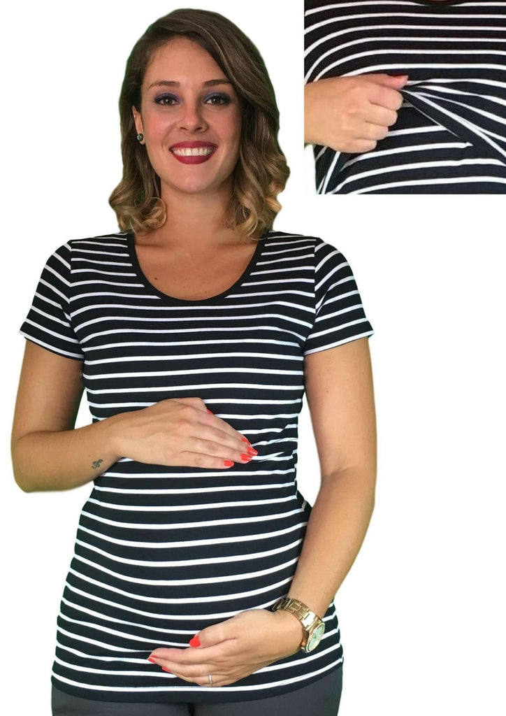 Maternity & Nursing Lift Up Tee - Striped -