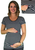 Maternity & Nursing Lift Up Tee - Striped - maternity top