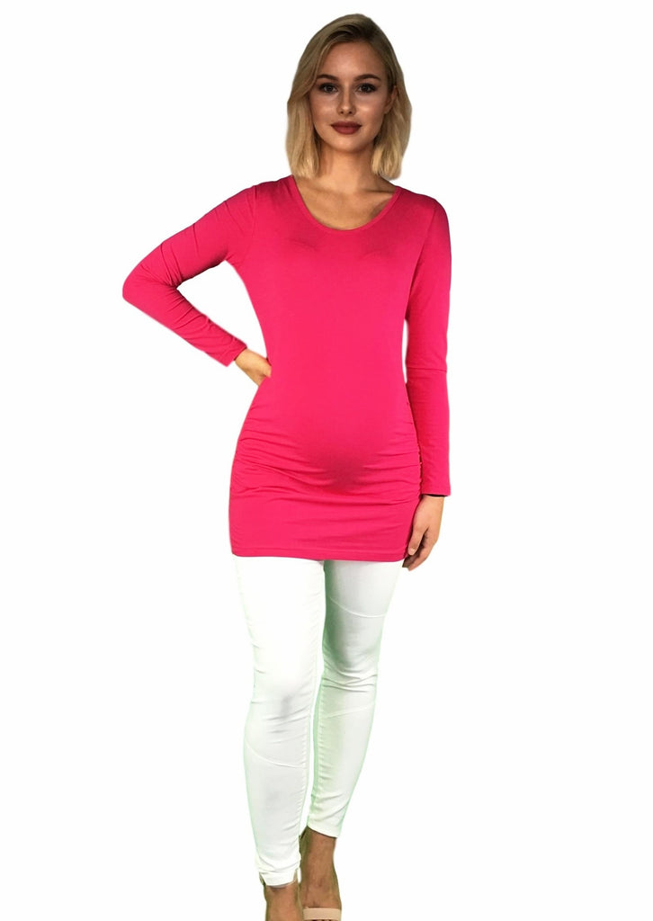 Maternity Cotton Long Sleeve Maternity Top With Side Ruching - Pink -