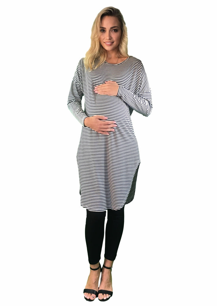 Oversized Maternity Tunic - Striped -