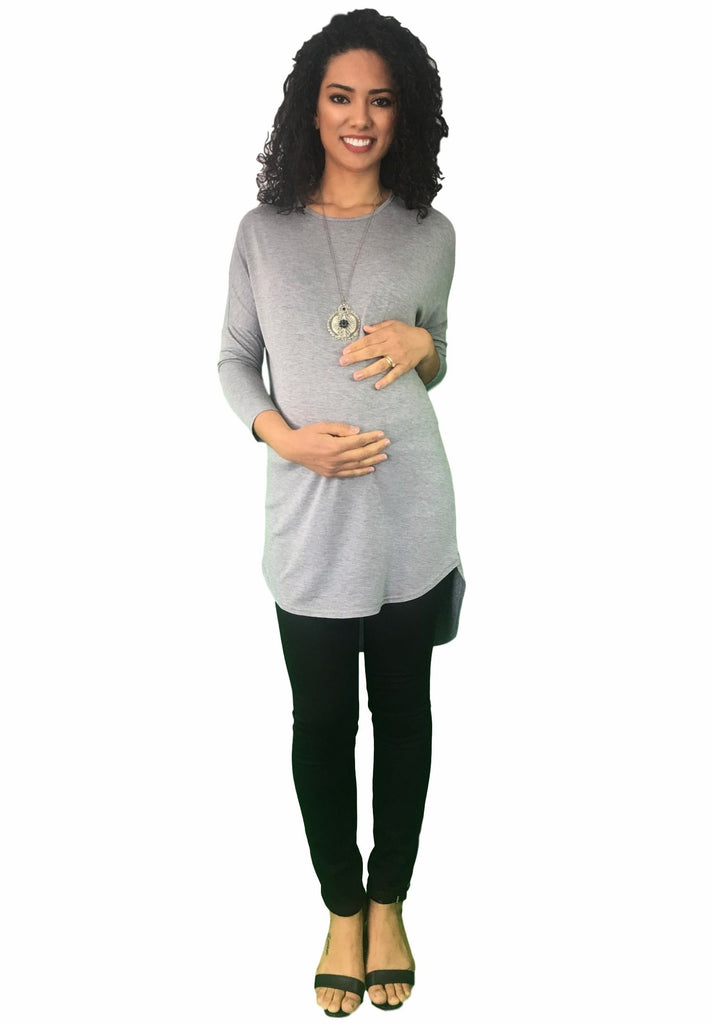 Extra Long Stretchy Maternity Tunic - Grey -