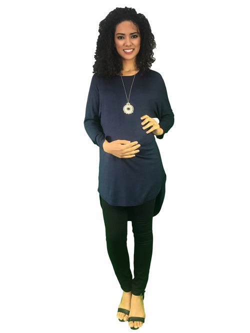 maternity top - extra long - navy blue