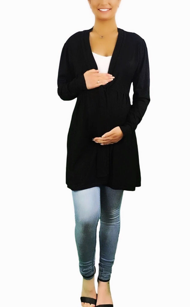 Knitted Maternity Cardigan With Waist Tie -