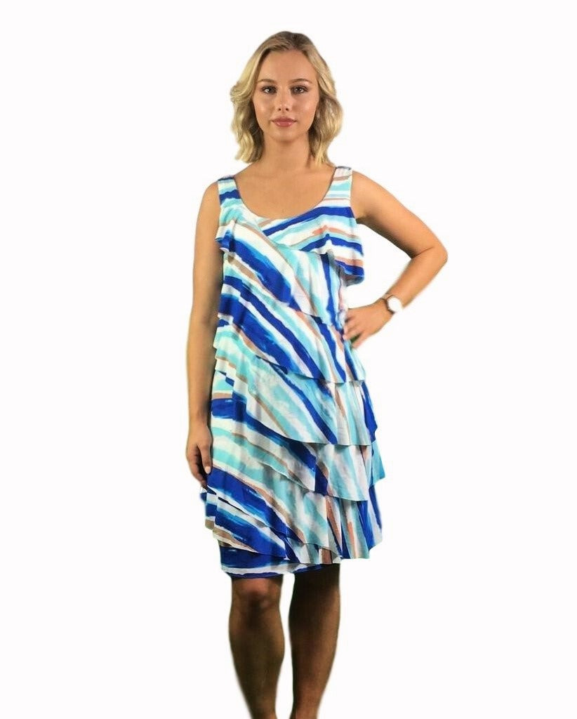 Maternity Dress - Teaberry Ruffle Day To Night Dress - Blue -