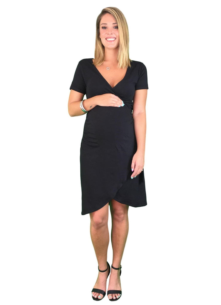 Lilly & Me Cotton Maternity & Nursing Wrap Dress - Black -