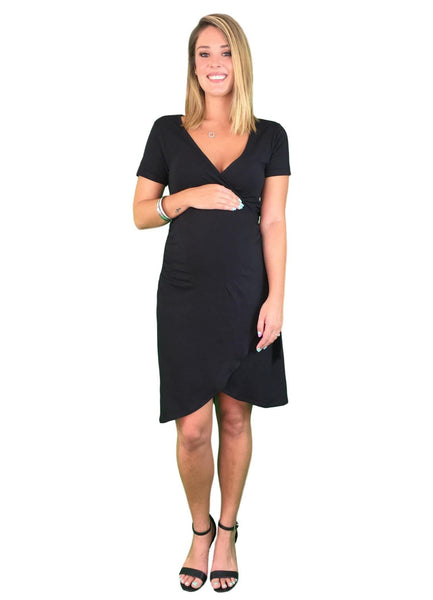 Lilly & Me Cotton Maternity & Nursing Wrap Dress - Black