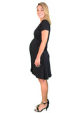 Lilly & Me Cotton Maternity & Nursing Wrap Dress - Black - Lilly & Me Cotton Maternity & Nursing Wrap Dress - Black