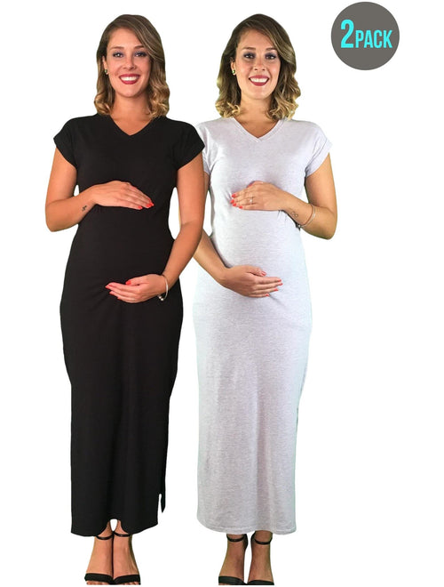 Maternity Maxi Dresses - Black & Grey