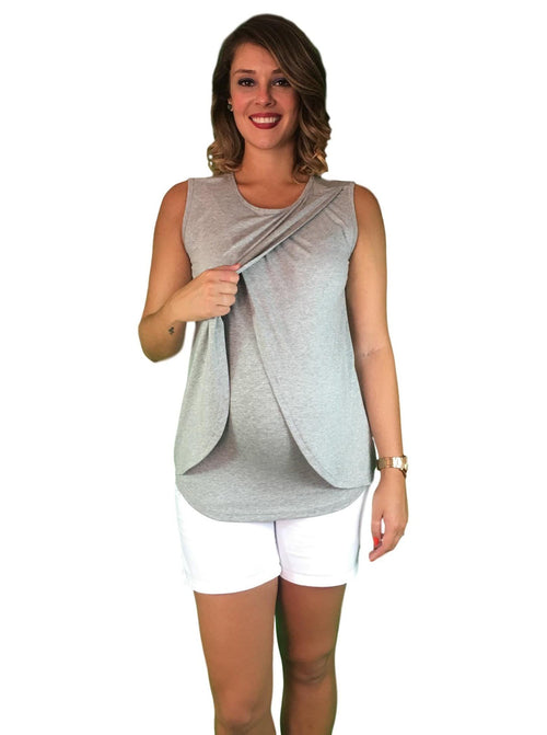 Lilly & Me Cotton Maternity & Nursing Crossover Top - Grey