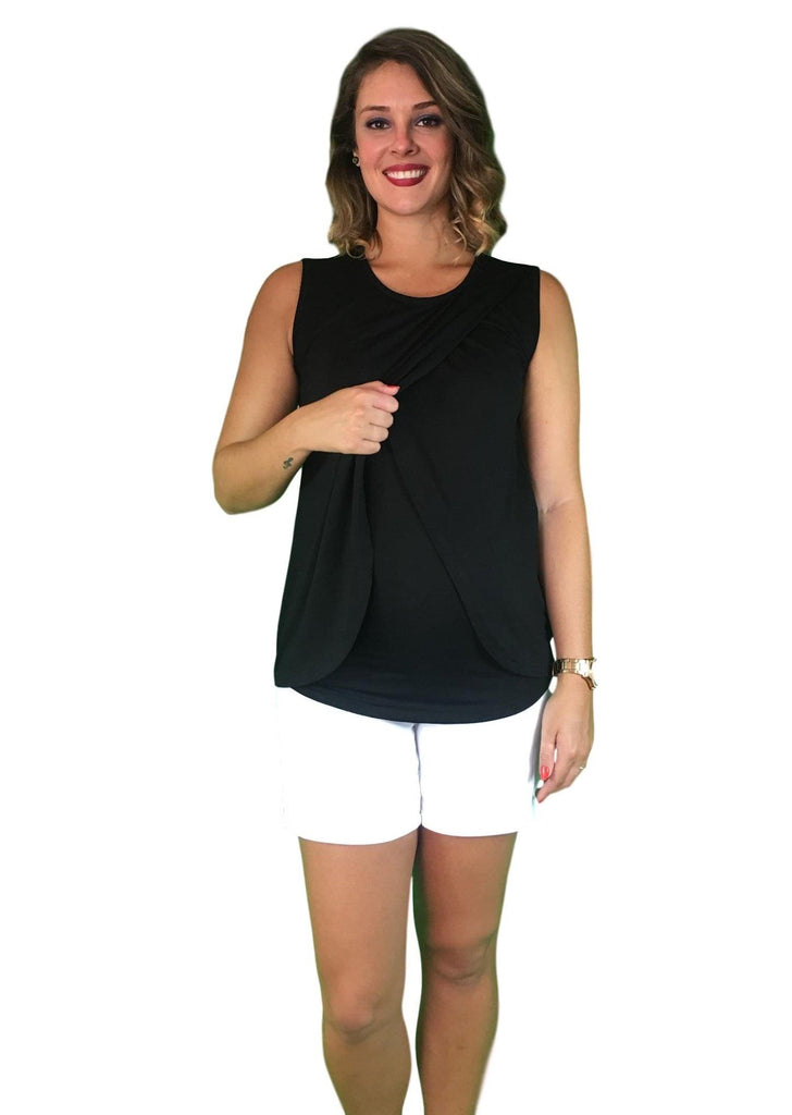 Lilly & Me Cotton Maternity & Nursing Crossover Top - Black -
