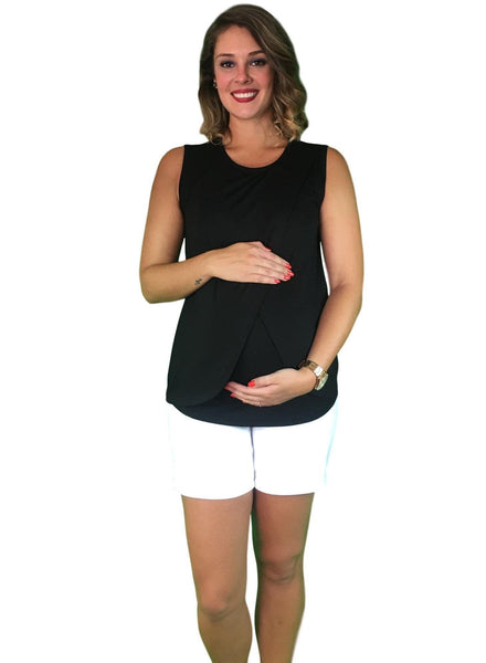 Lilly & Me Cotton Maternity & Nursing Crossover Top - Black
