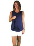 Lilly & Me Cotton Maternity & Nursing Crossover Top - Navy Blue - Lilly & Me Cotton Maternity & Nursing Crossover Top - Navy Blue