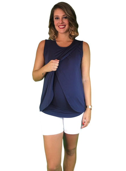 Lilly & Me Cotton Maternity & Nursing Crossover Top - Navy Blue