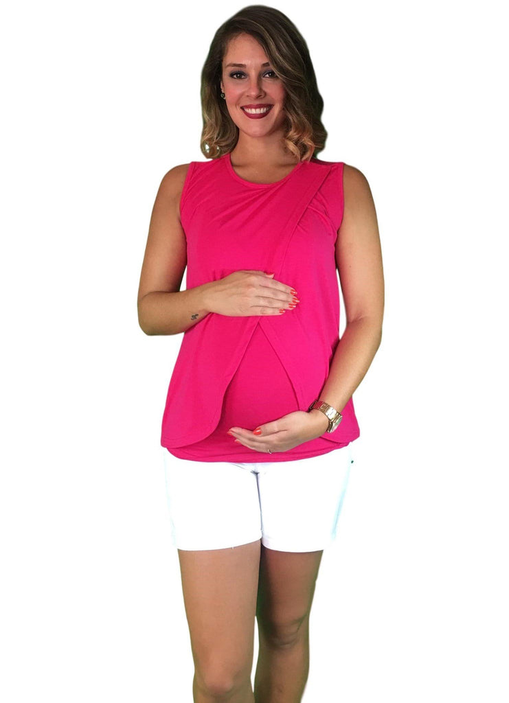 Lilly & Me Cotton Maternity & Nursing Crossover Top - Pink -