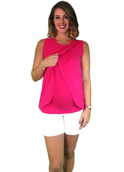 Lilly & Me Cotton Maternity & Nursing Crossover Top - Pink