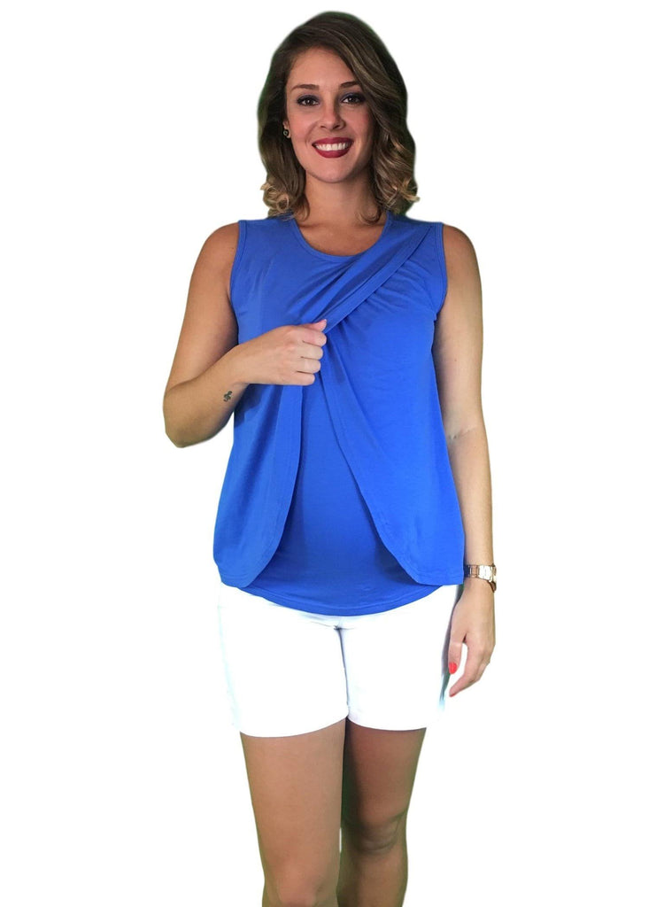 Lilly & Me Cotton Maternity & Nursing Crossover Top - Blue -