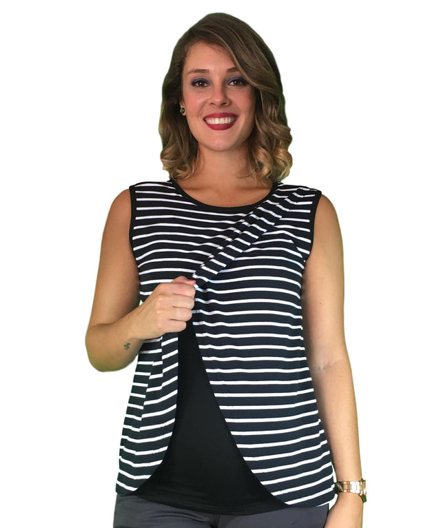 Lilly & Me Cotton Maternity & Nursing Top - Black & White Stripes