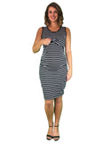 Maternity & Nursing Cotton Lift Up Dress - Striped - Lilly & Me Cotton Day To Night Dress - Striped