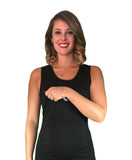 Maternity & Nursing Cotton Lift Up Dress - Black - breastfeeding dress