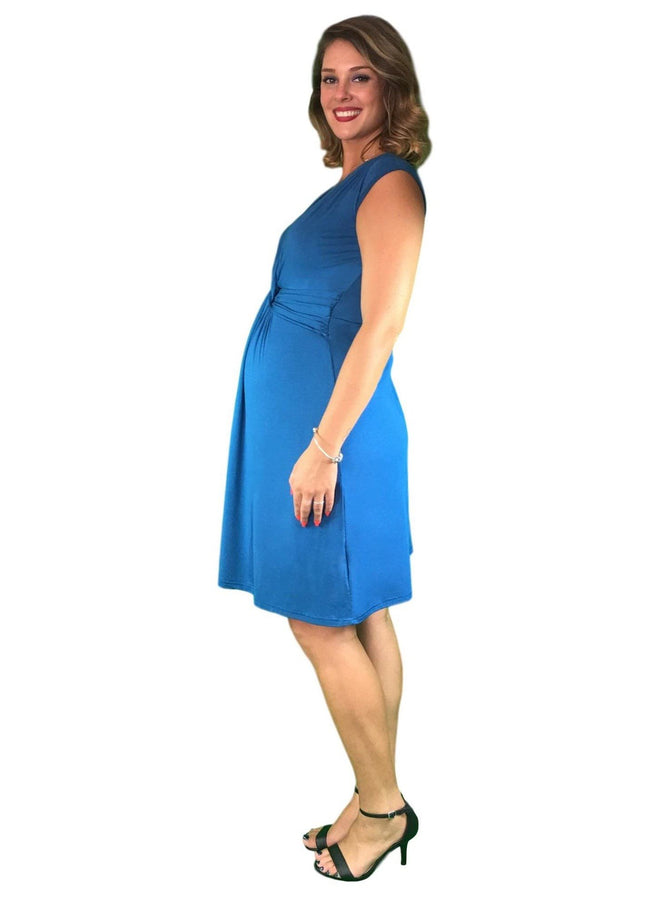 Lilly & Me Cotton Maternity & Nursing Crossover Dress - Teal