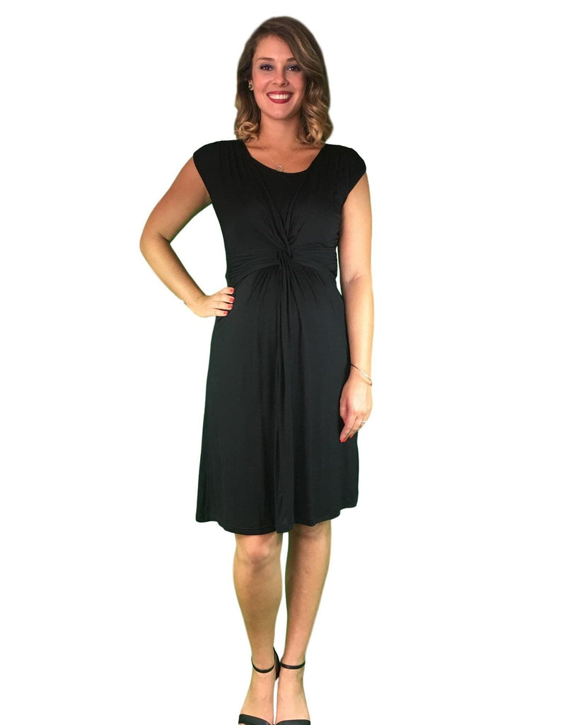 Maternity & Nursing Cotton Crossover Dress - Black -
