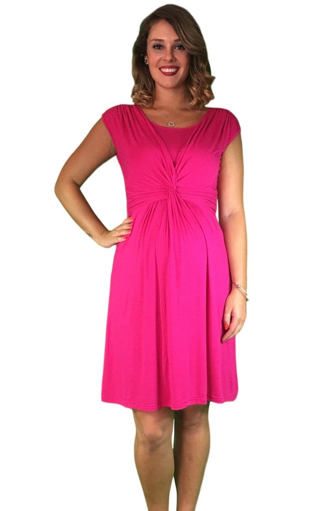 Lilly & Me Cotton Crossover Maternity & Nursing Dress - Pink -