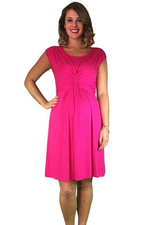 Lilly & Me Cotton Crossover Maternity & Nursing Dress - Pink