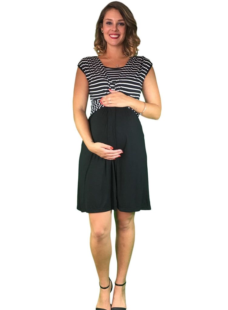 Lilly & Me Cotton Maternity & Nursing Crossover Dress - Striped -