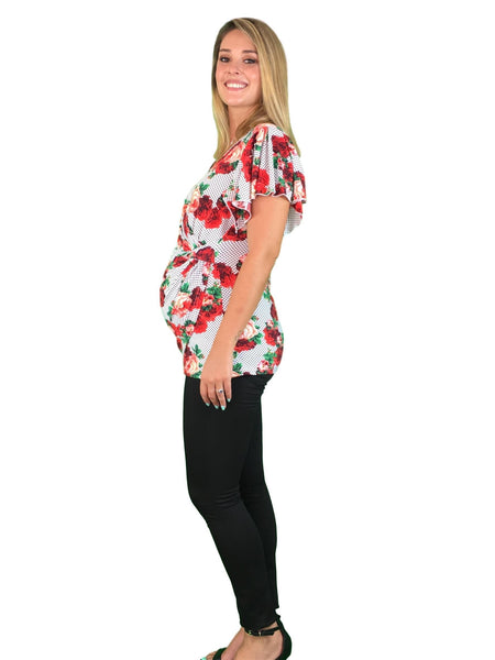 Teaberry Maternity & Nursing Day to Night Ruffle Top