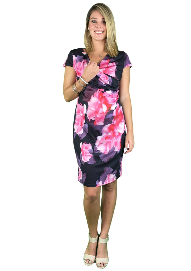 Teaberry Cap Sleeve Maternity & Nursing Dress -
