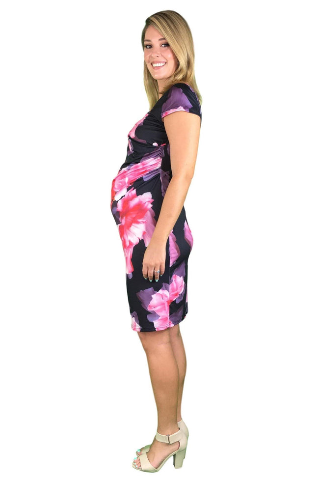 Teaberry Cap Sleeve Maternity & Nursing Dress