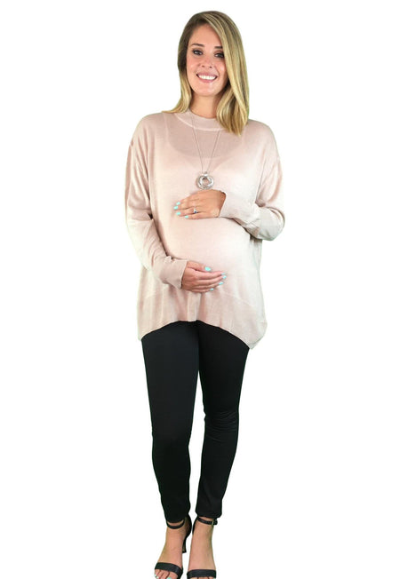 Asymmetric Maternity Jumper - Red Wine